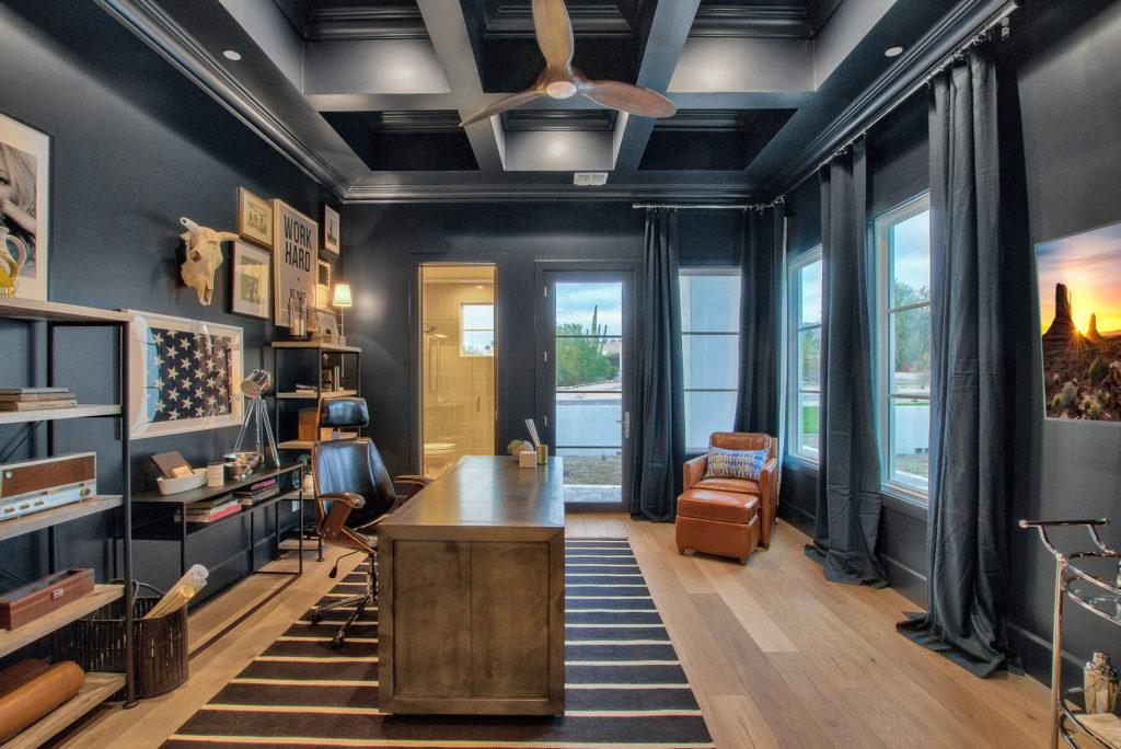Modern-Farmhouse-Office-Area-Beam-Ceiling