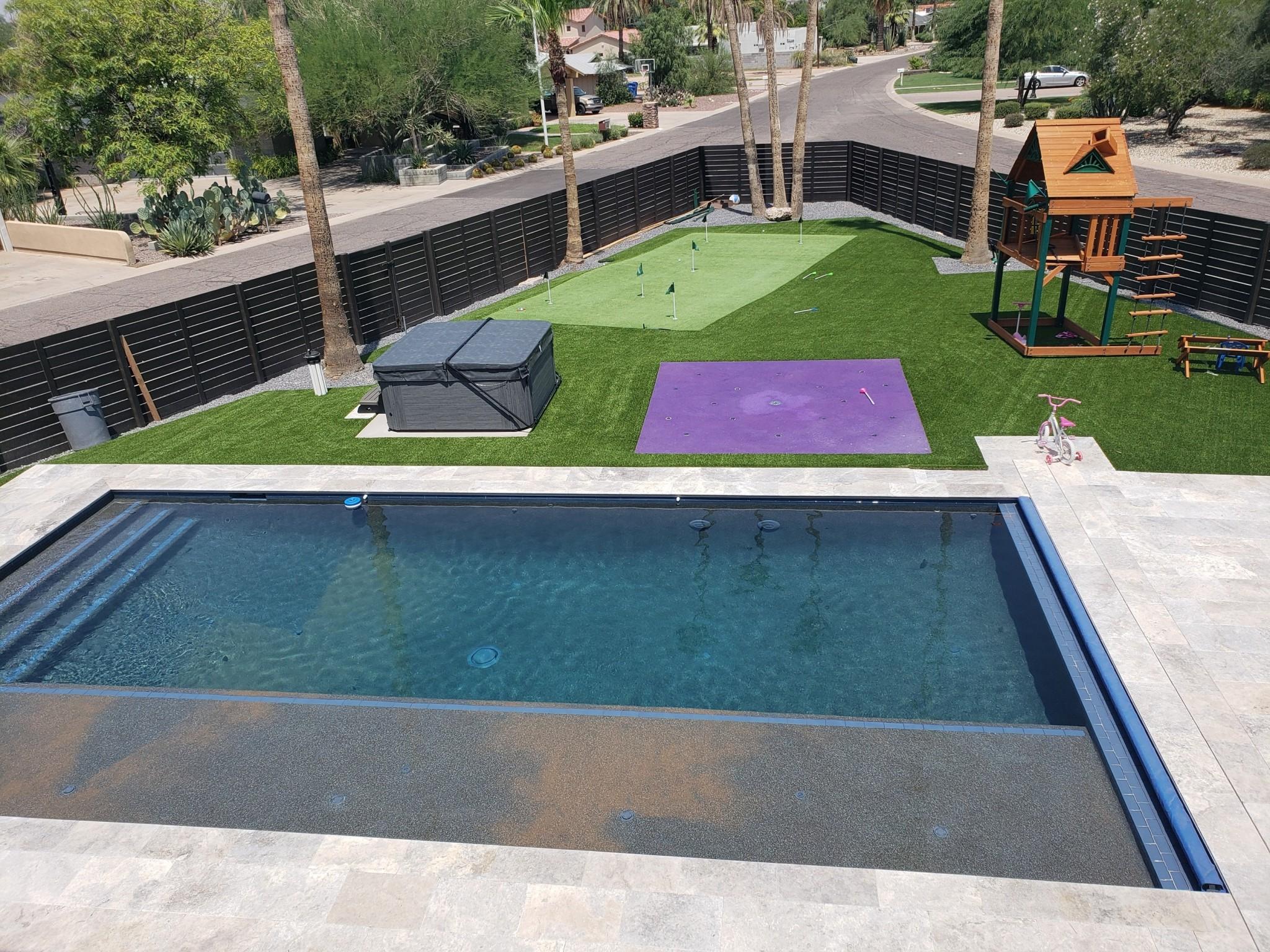 Contemporary Home Backyard Pool Area